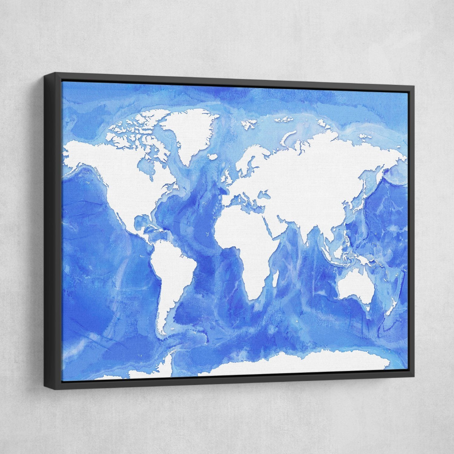 world map in white and blue art