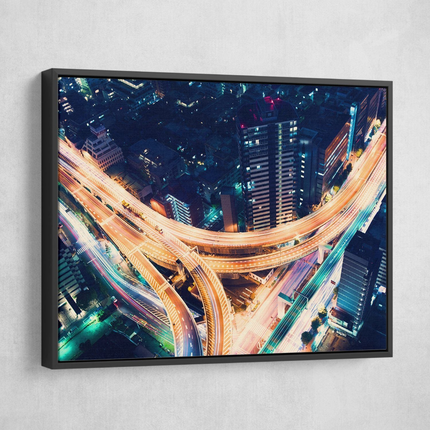 Road Night Lights wall art black frame