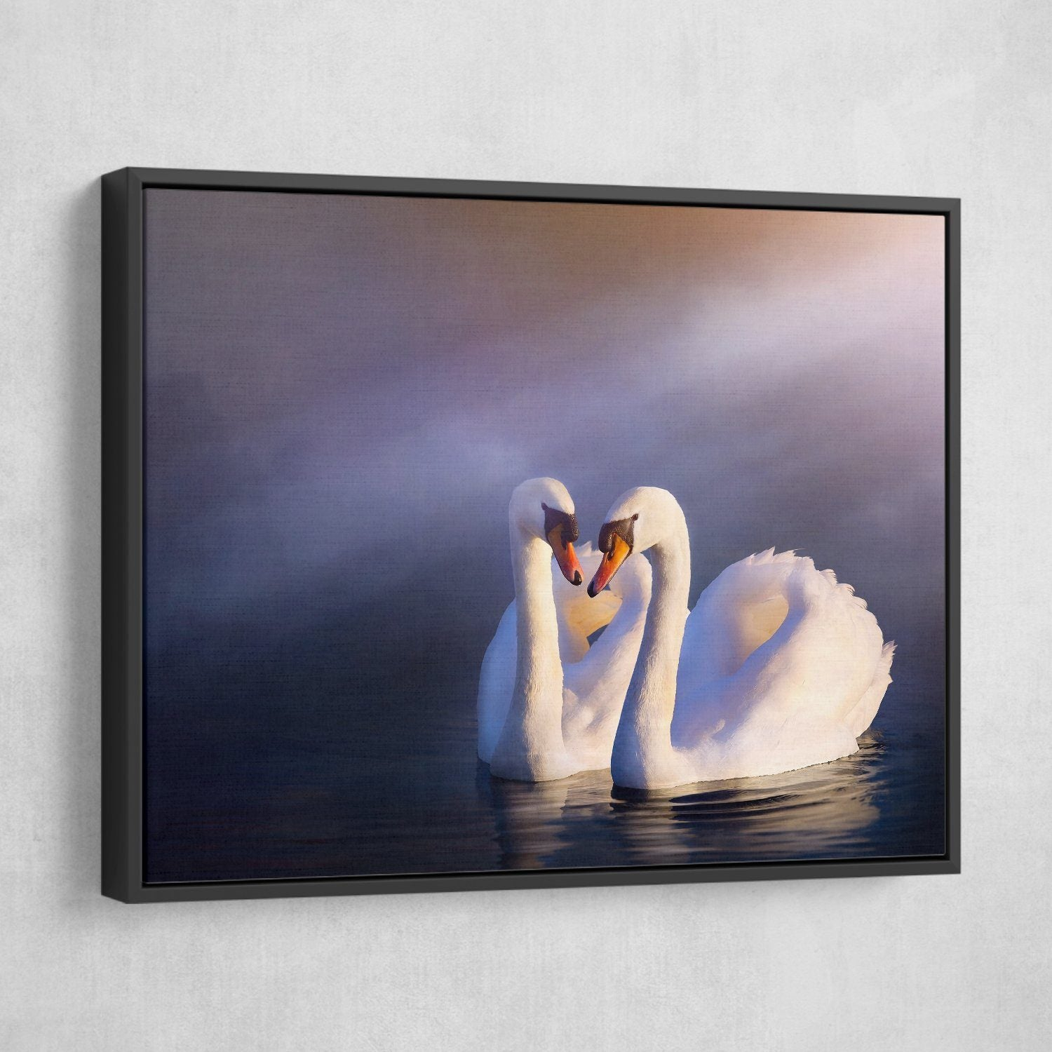 Swans in Love wall art black frame