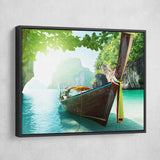 Andaman Islands wall art black floating frame