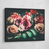 Retro Floral wall art black frame