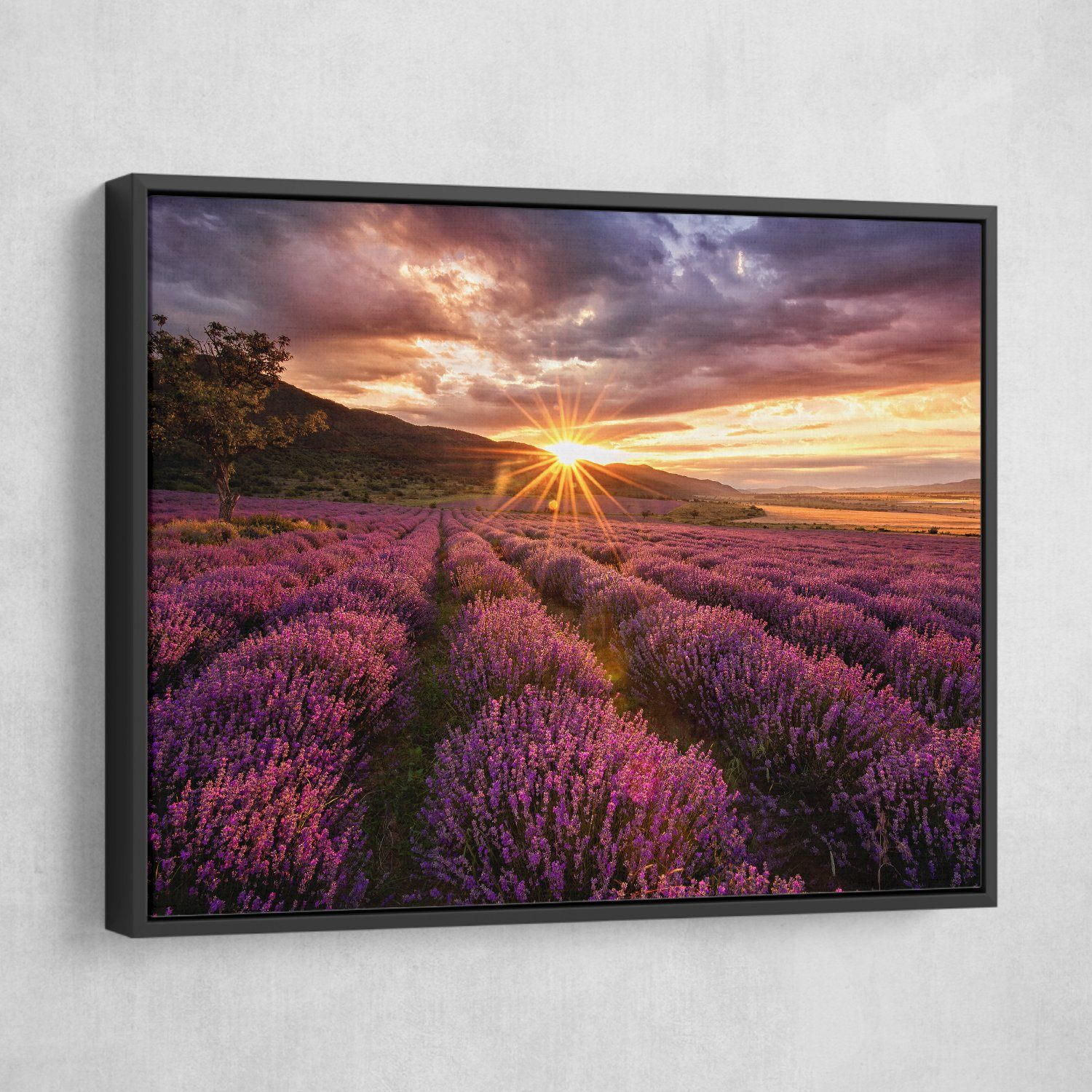 Lavender Field wall art black frame
