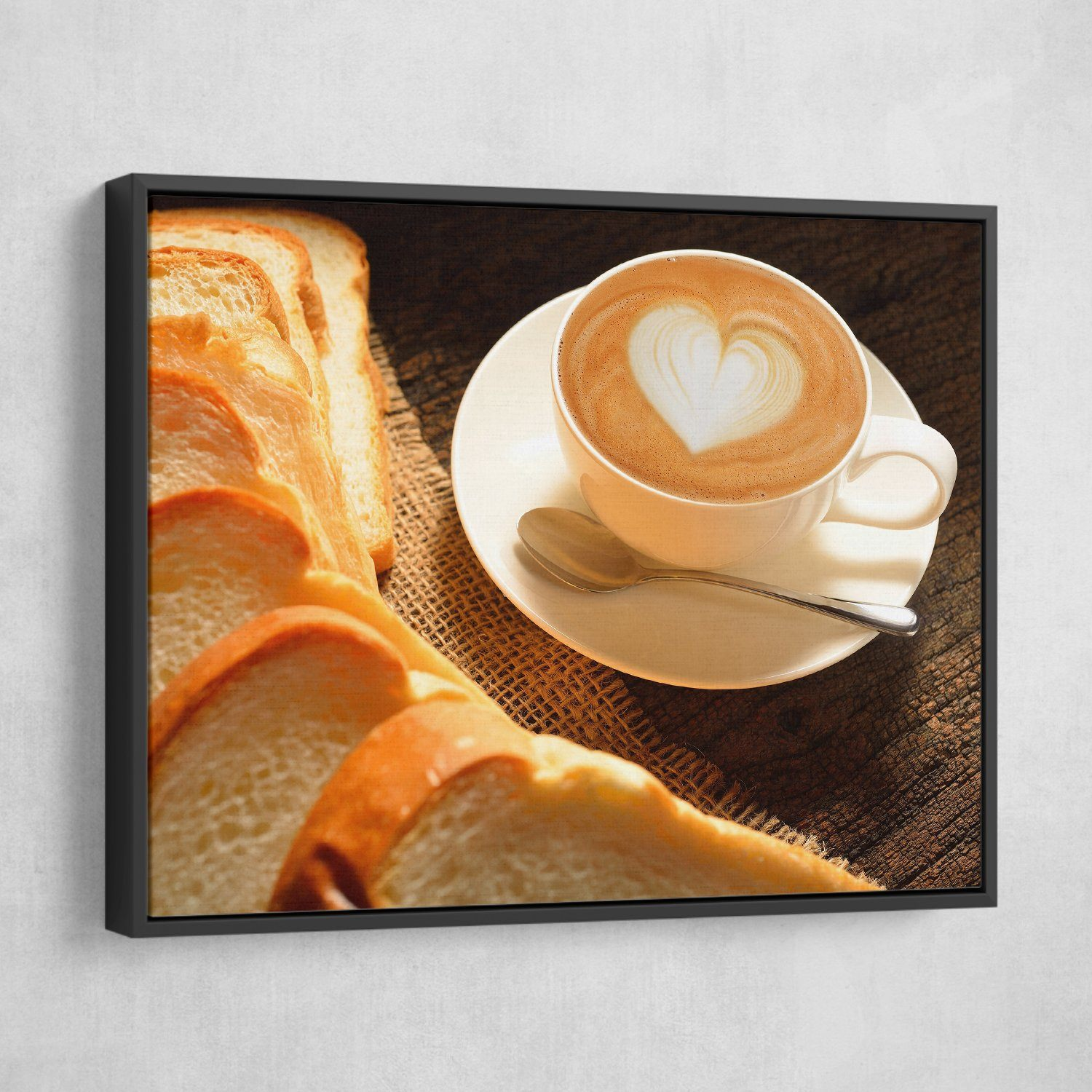 Some Bread and Latte wall art black floating frame