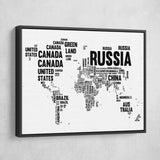 word map Typography World Map wall art