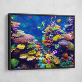 Coral Reef wall art black floating frame