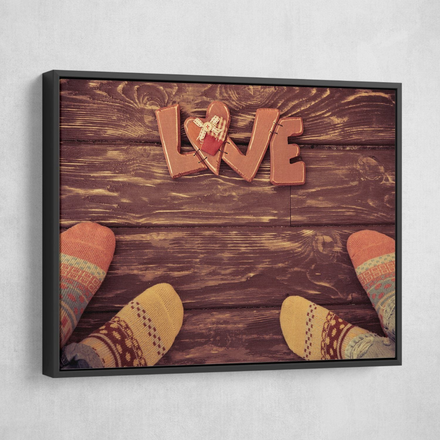Socks for Love wall art black floating frame