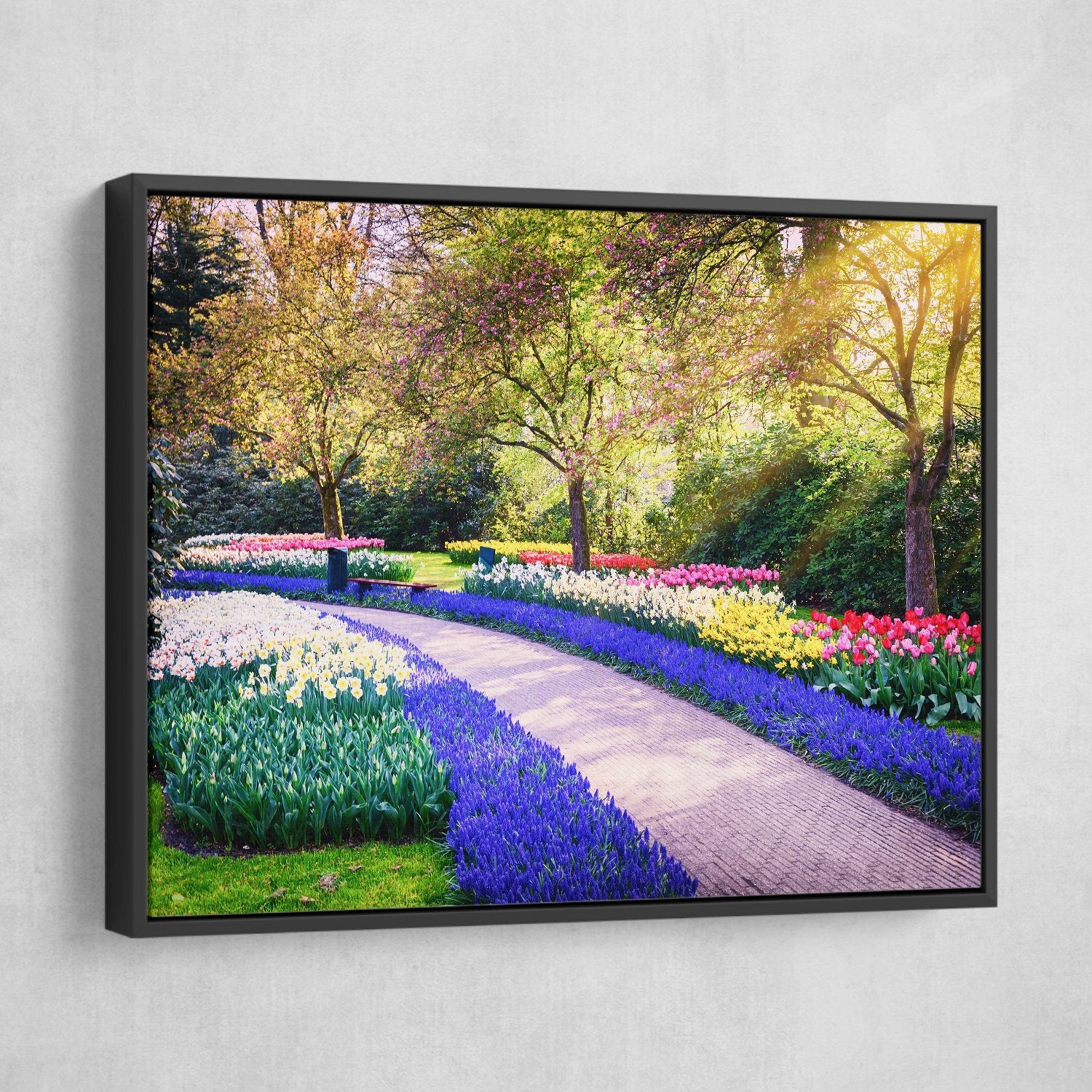 3 piece Flower garden wall art black frame