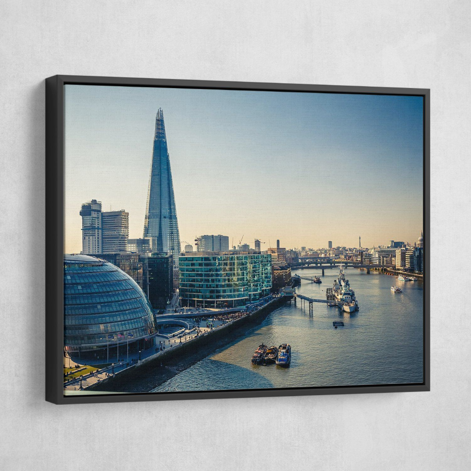 Thames and London City wall art black frame