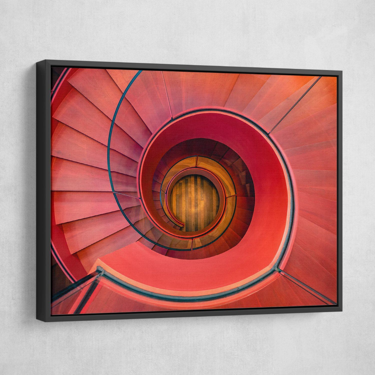 Spiral Staircase wall art black frame