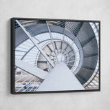 Spinning Steel Staircase wall art black frame