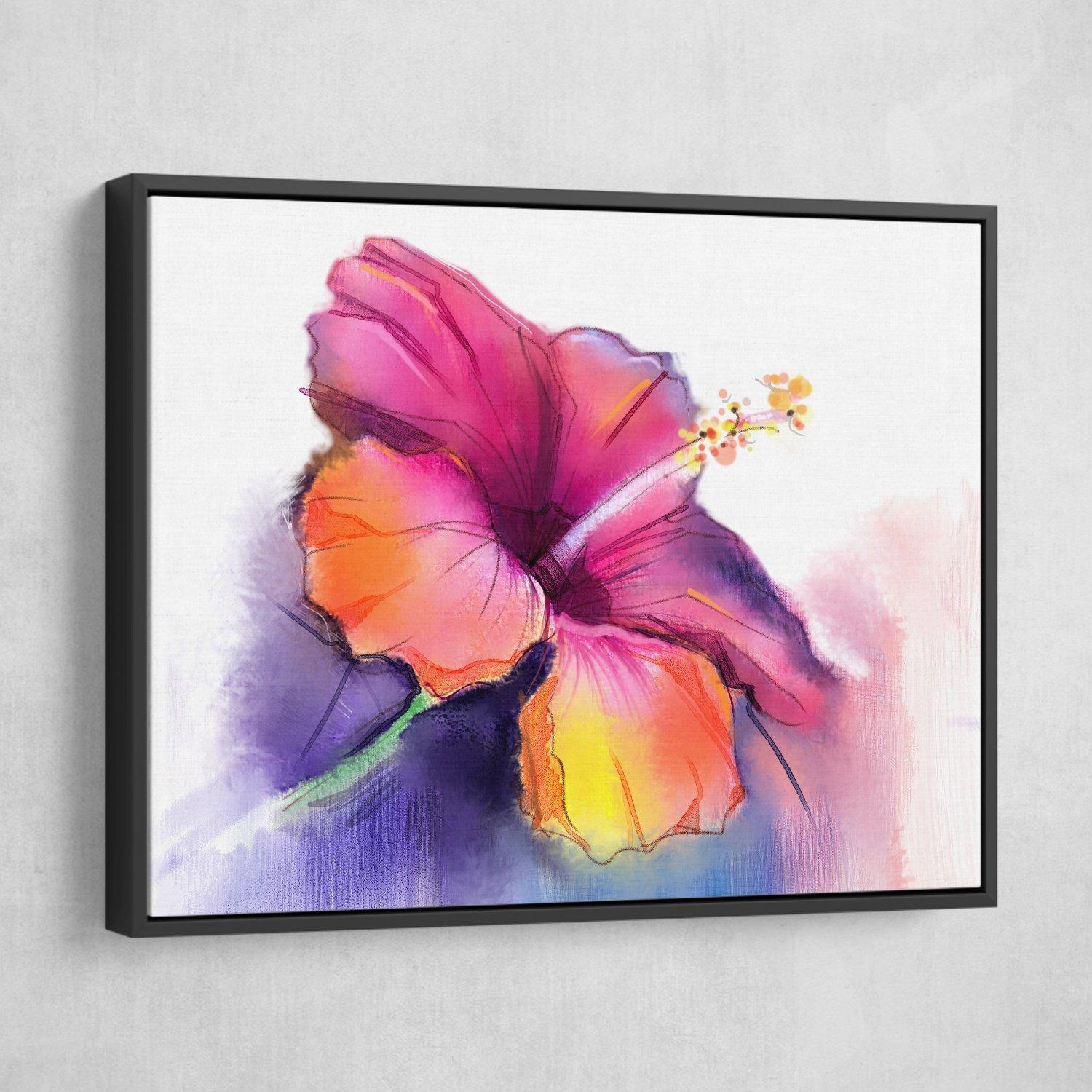 Abstract Hibiscus wall art black frame