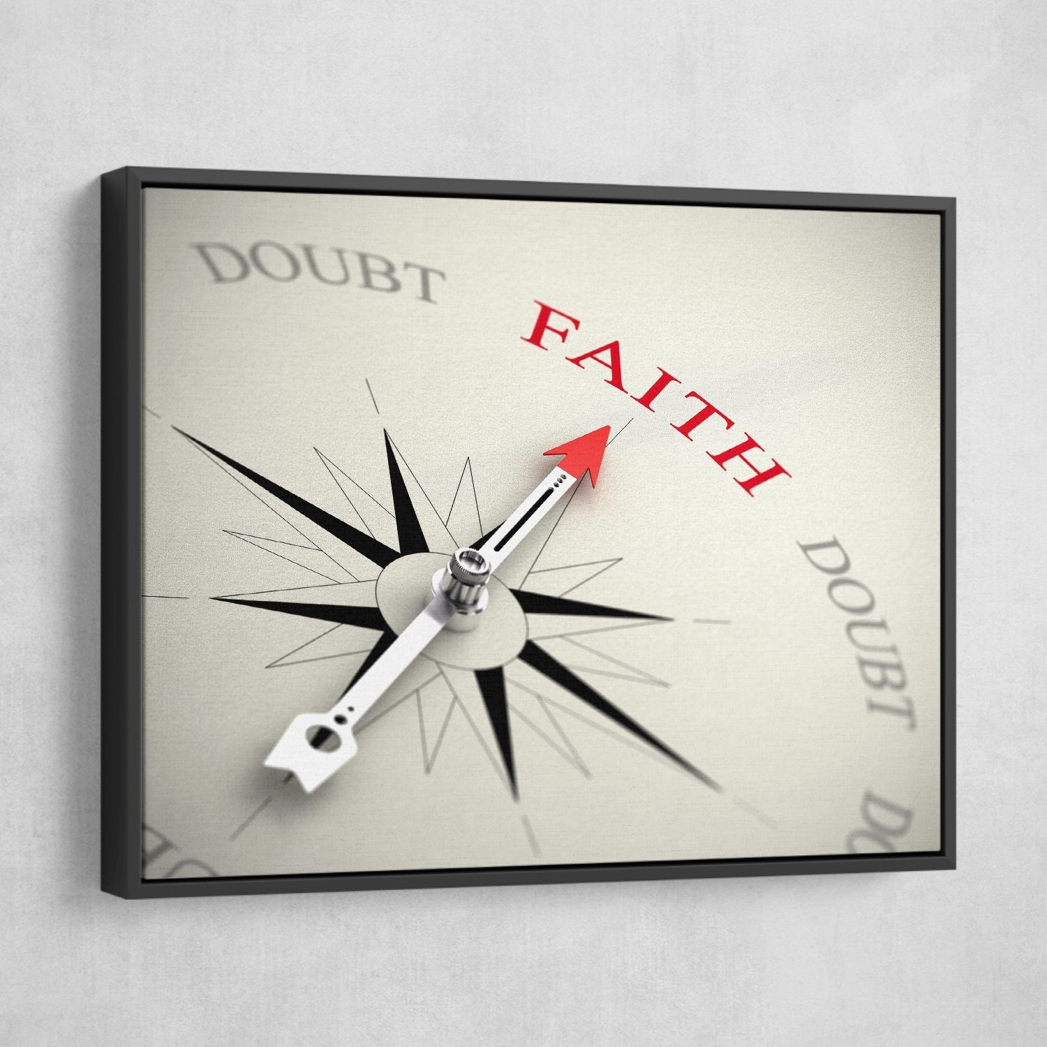 Point on Faith wall art black frame