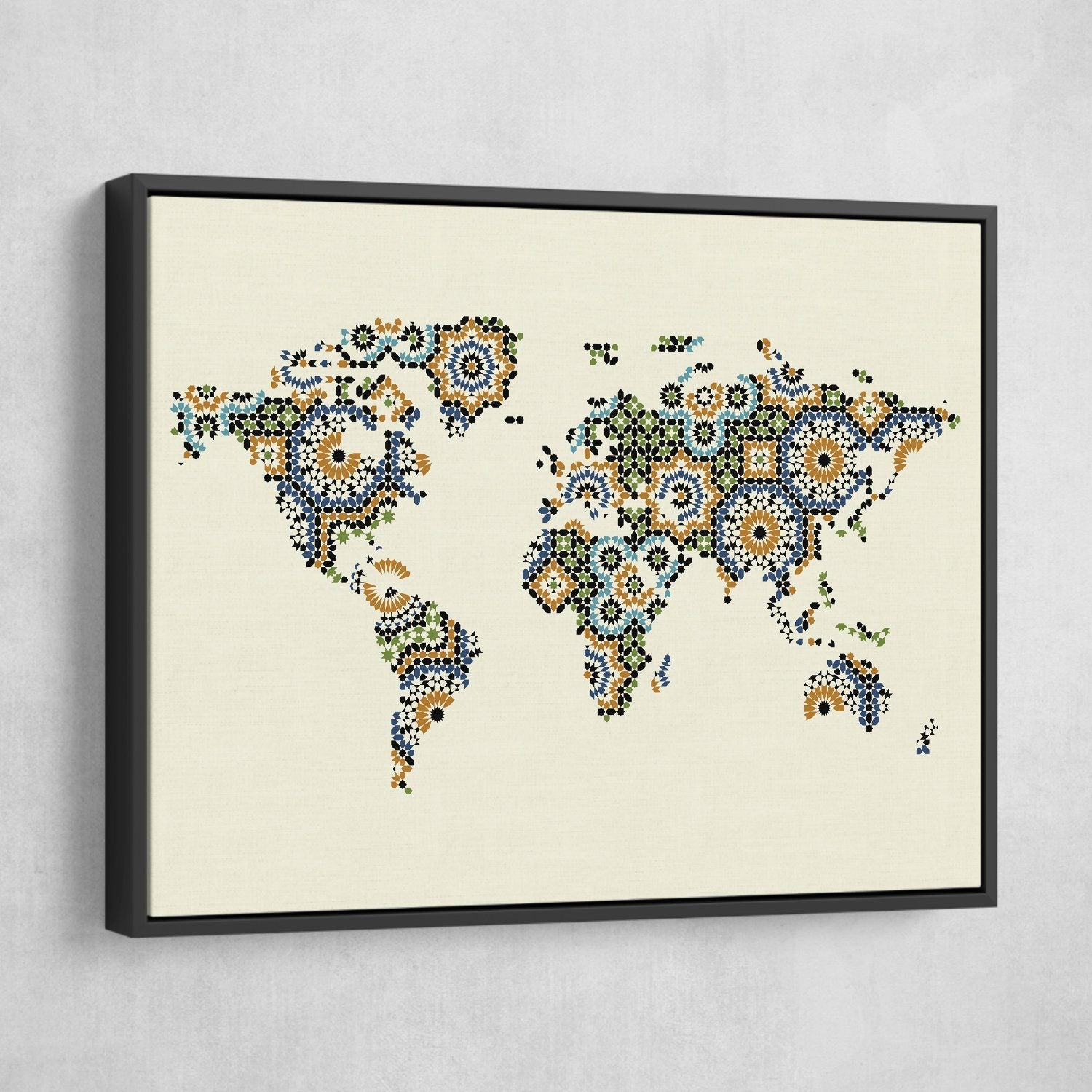 Morocco Mosaic World Map canvas art