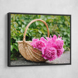 Peonies In A Basket wall art black frame