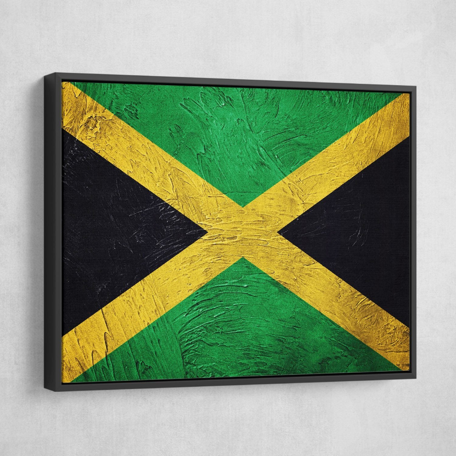 Jamaican Flag painting wall art black frame