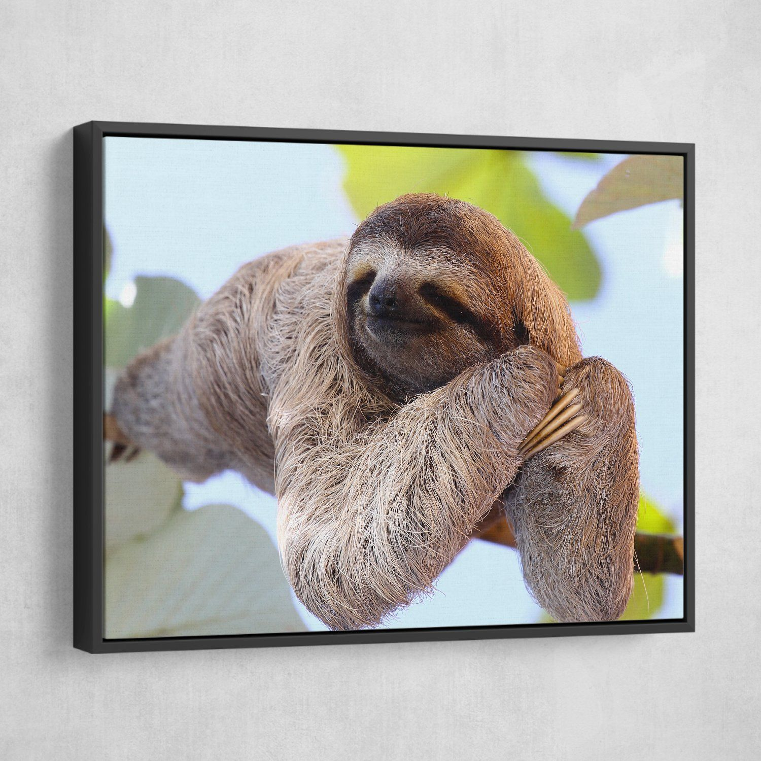 Happy Sloth wall art black frame