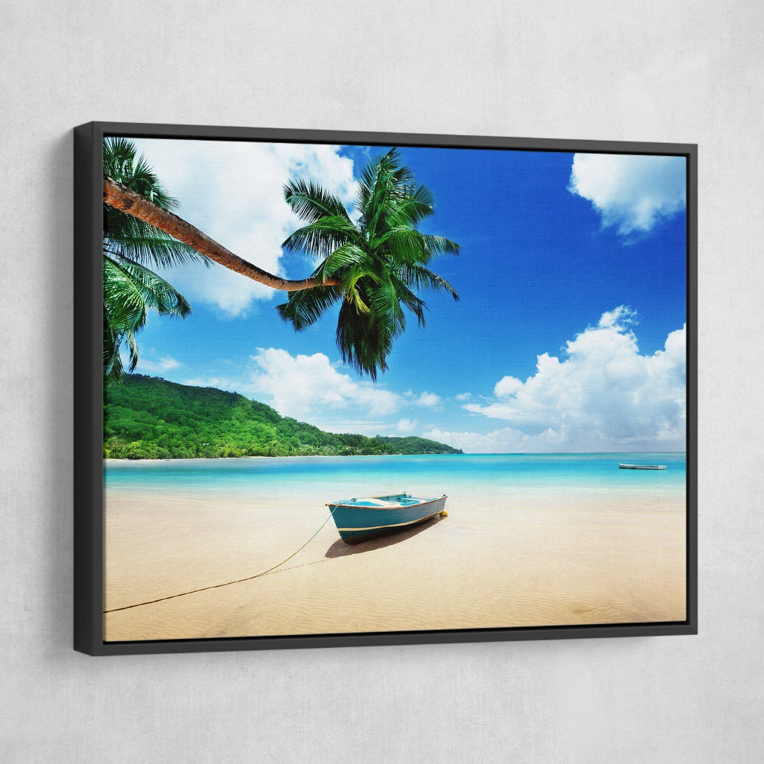Boat on Mahe Island wall art black floating frame