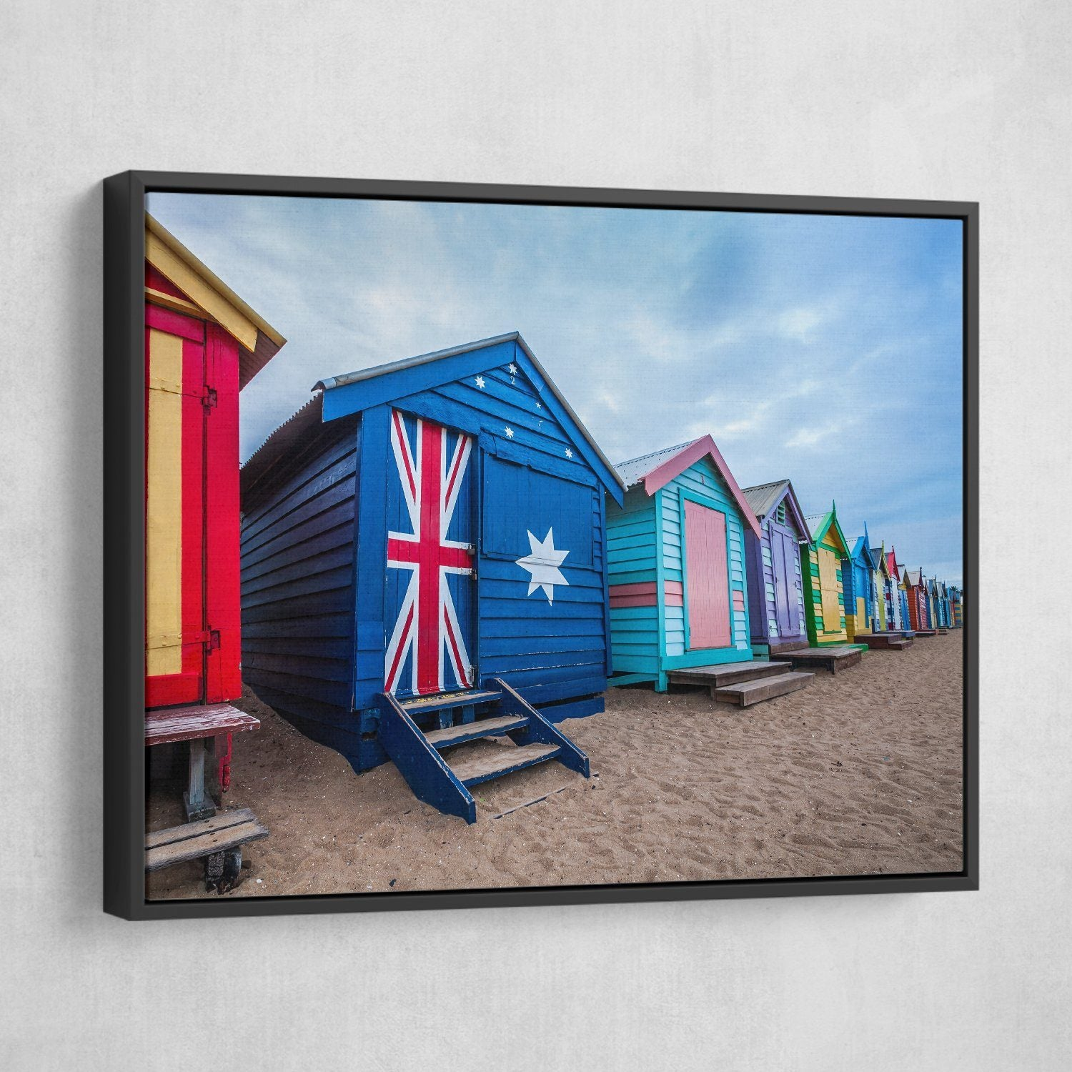 Australia Flag House wall art black frame