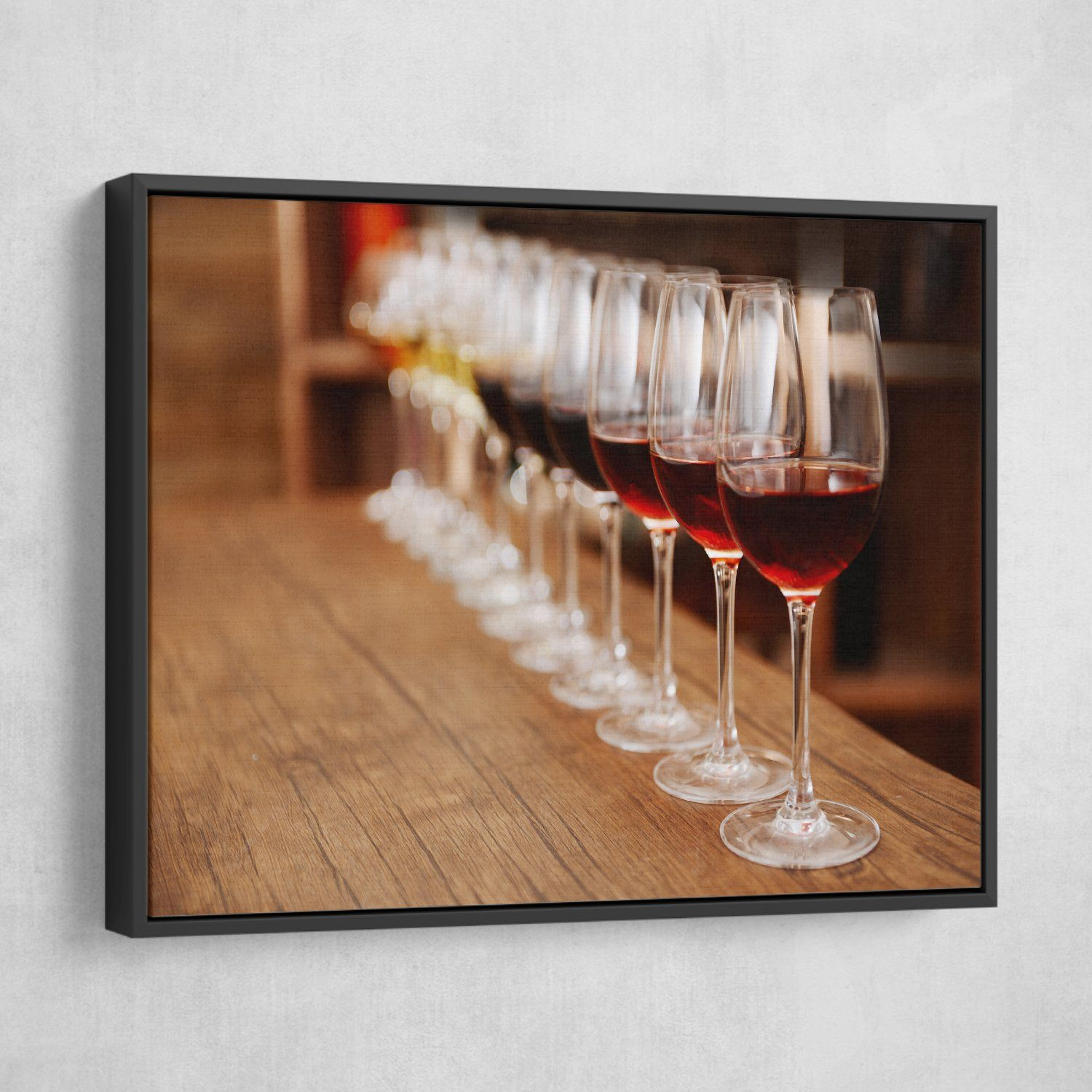 lined up wine glasses wall art
