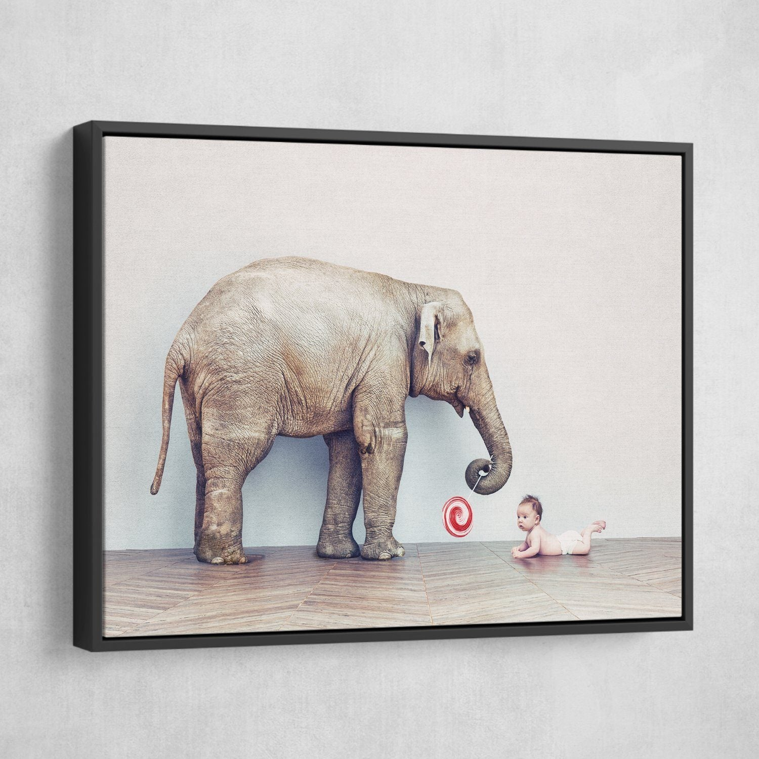 Baby and Elephant wall art black frame
