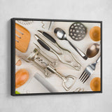 Kitchen Utensils wall art black frame