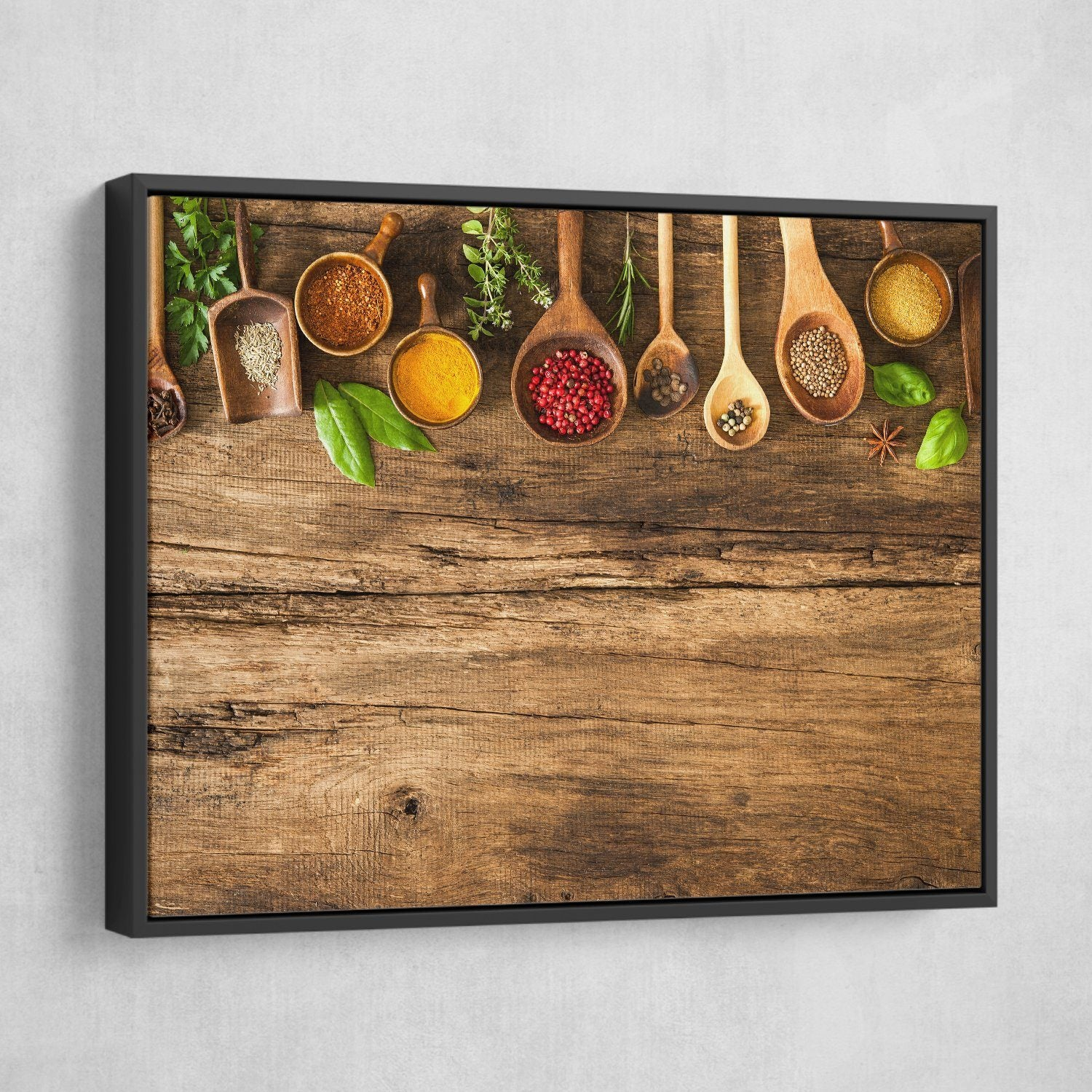 Various Colorful Spices wall art black frame