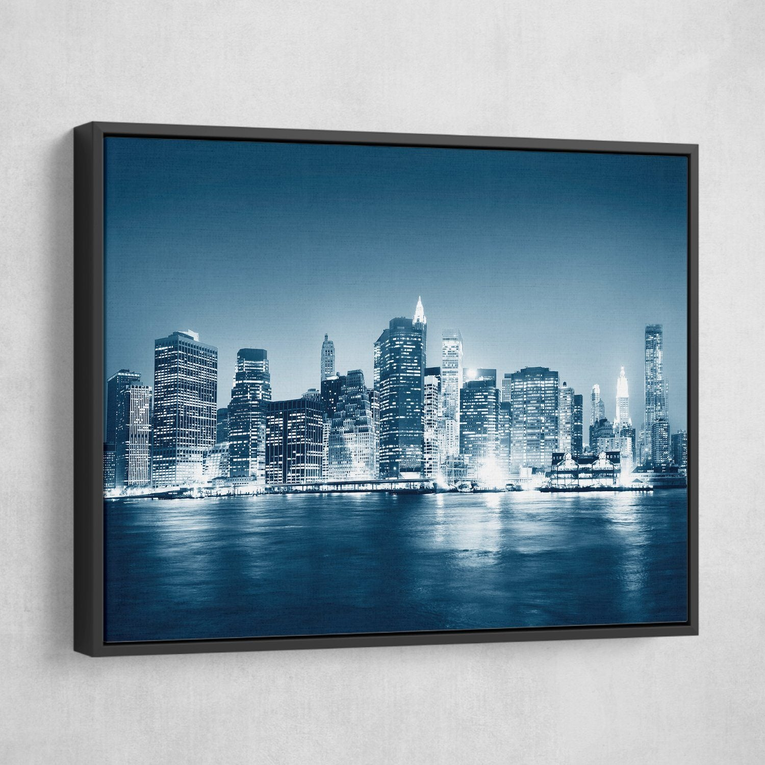 Night in New York wall art black frame