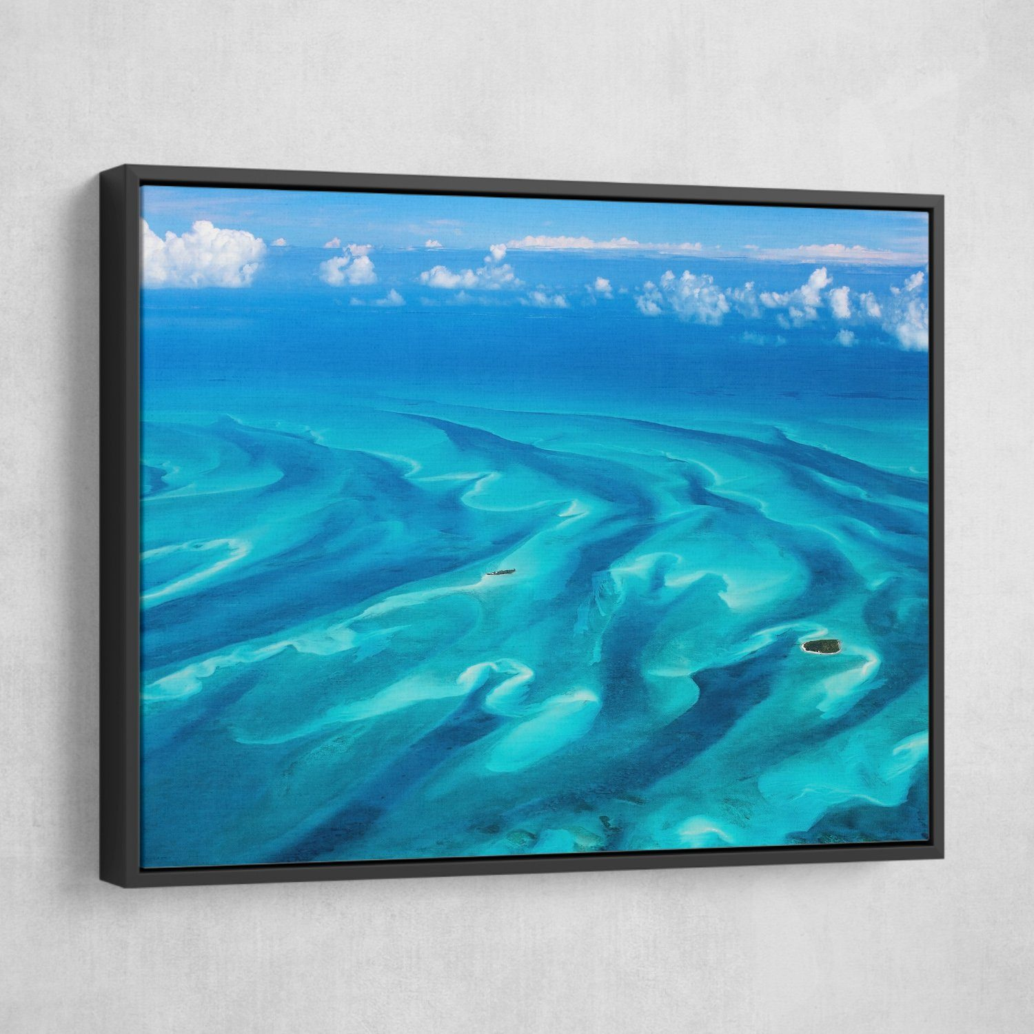 Beautiful Bahamas wall art black frame
