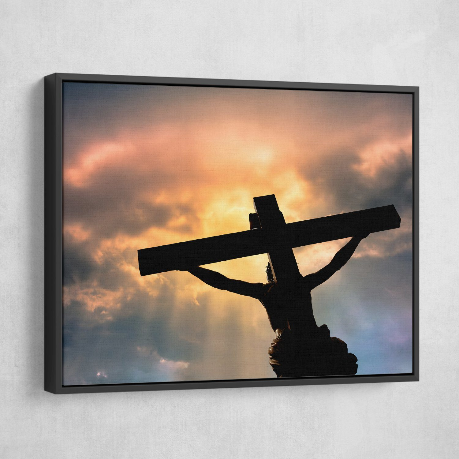 Jesus Christ's Sacrifice wall art black floating frame