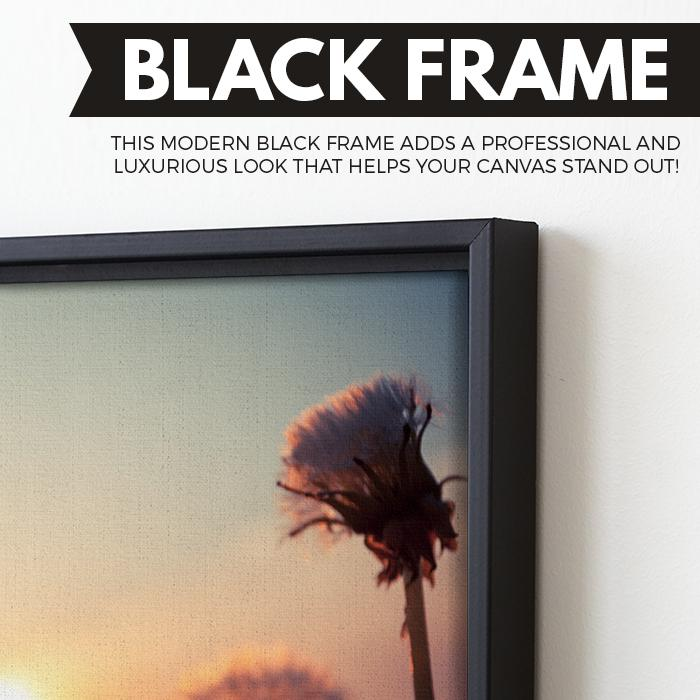Dandelions at Sunset art black floating frame