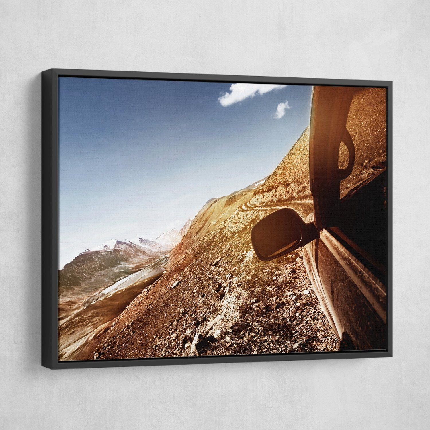 Car in a Mountain wall art black frame