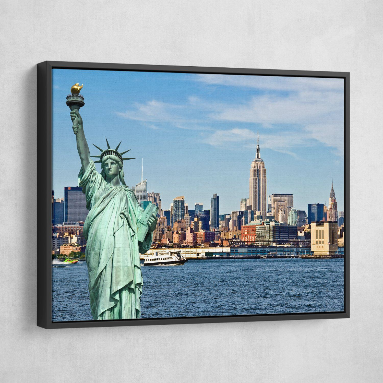 Statue of liberty wall art black frame