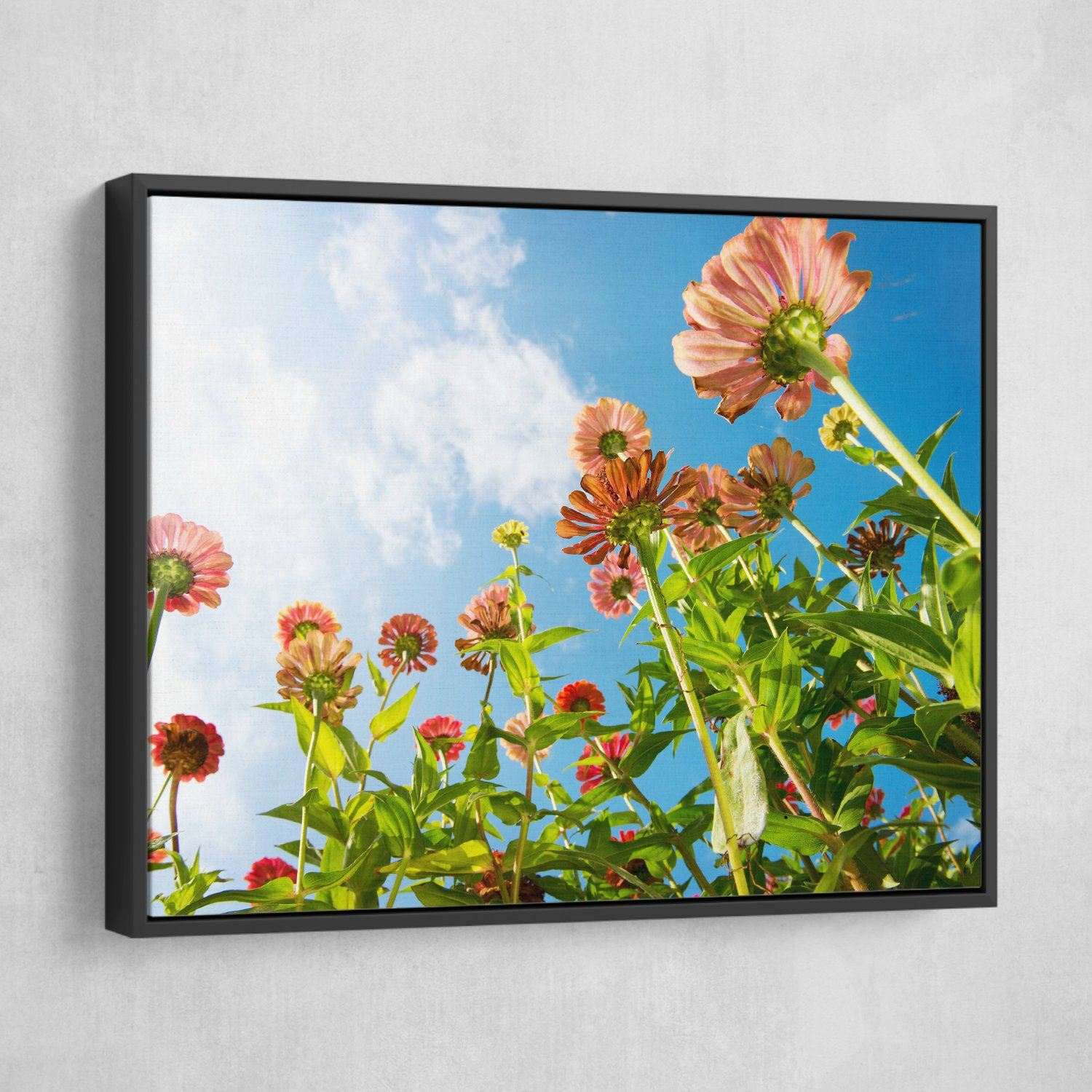 Flowers Over Blue Sky wall art black frame