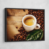 Cup of Coffee Espresso wall art black floating frame
