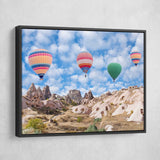 Hot air balloon wall art black frame