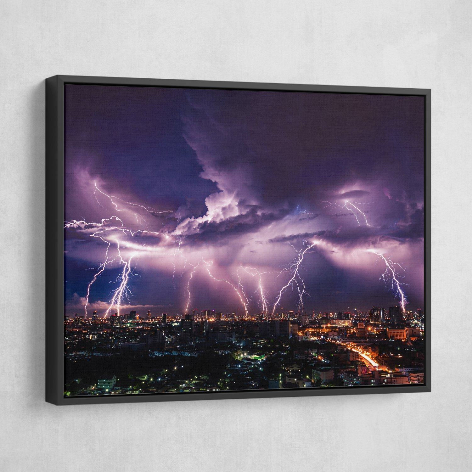 Lightning Storm Over City wall art black frame