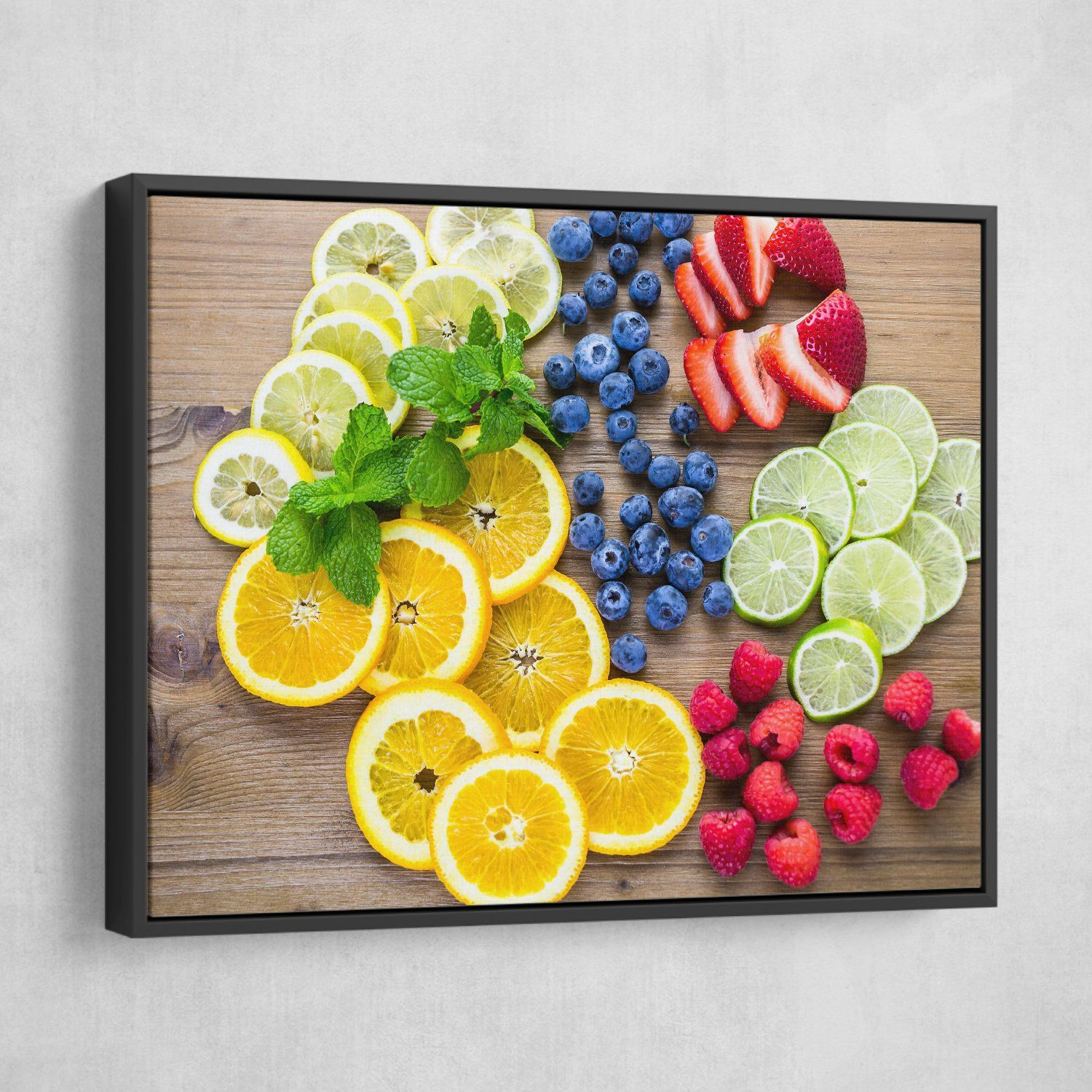 Sliced Fruits wall art black frame