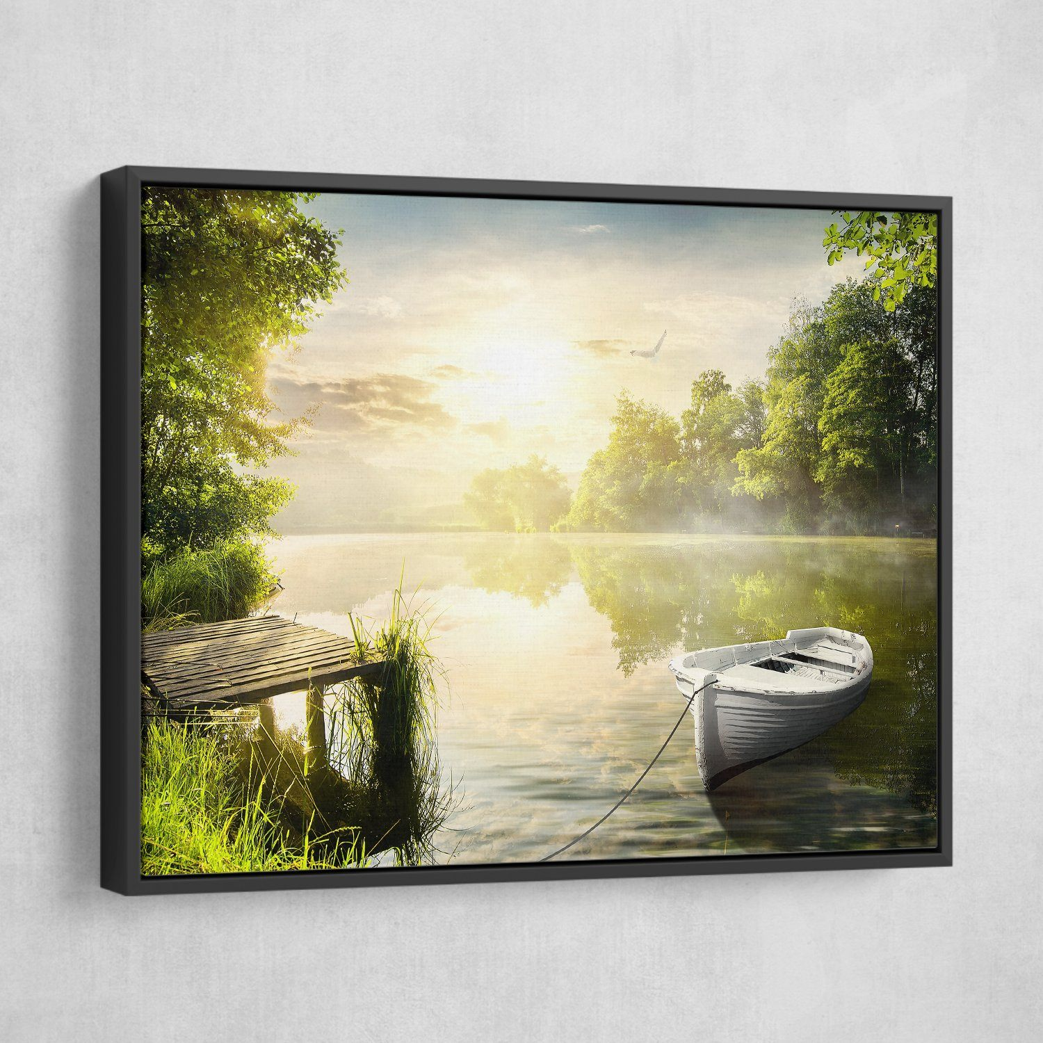 Along the Riverbanks wall art black floating frame
