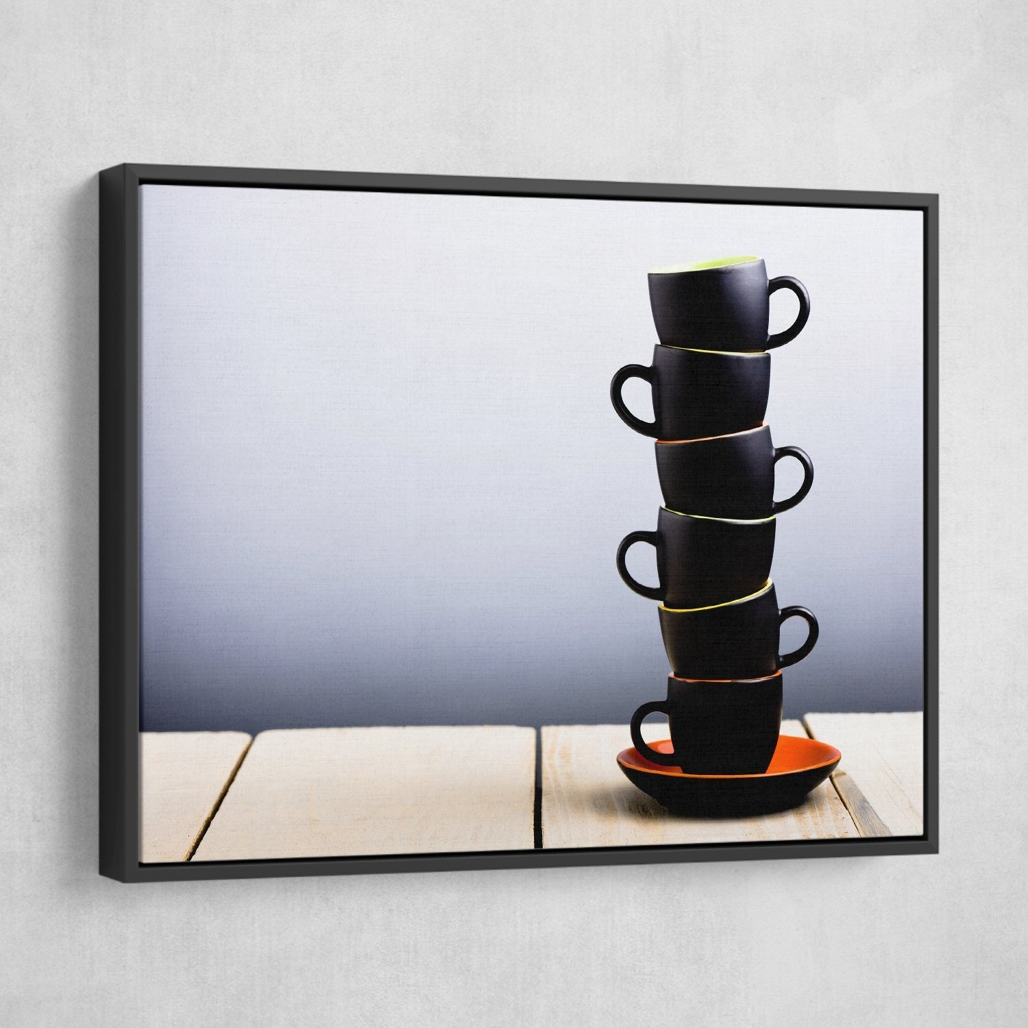 Coffee Cups wall art black floating frame