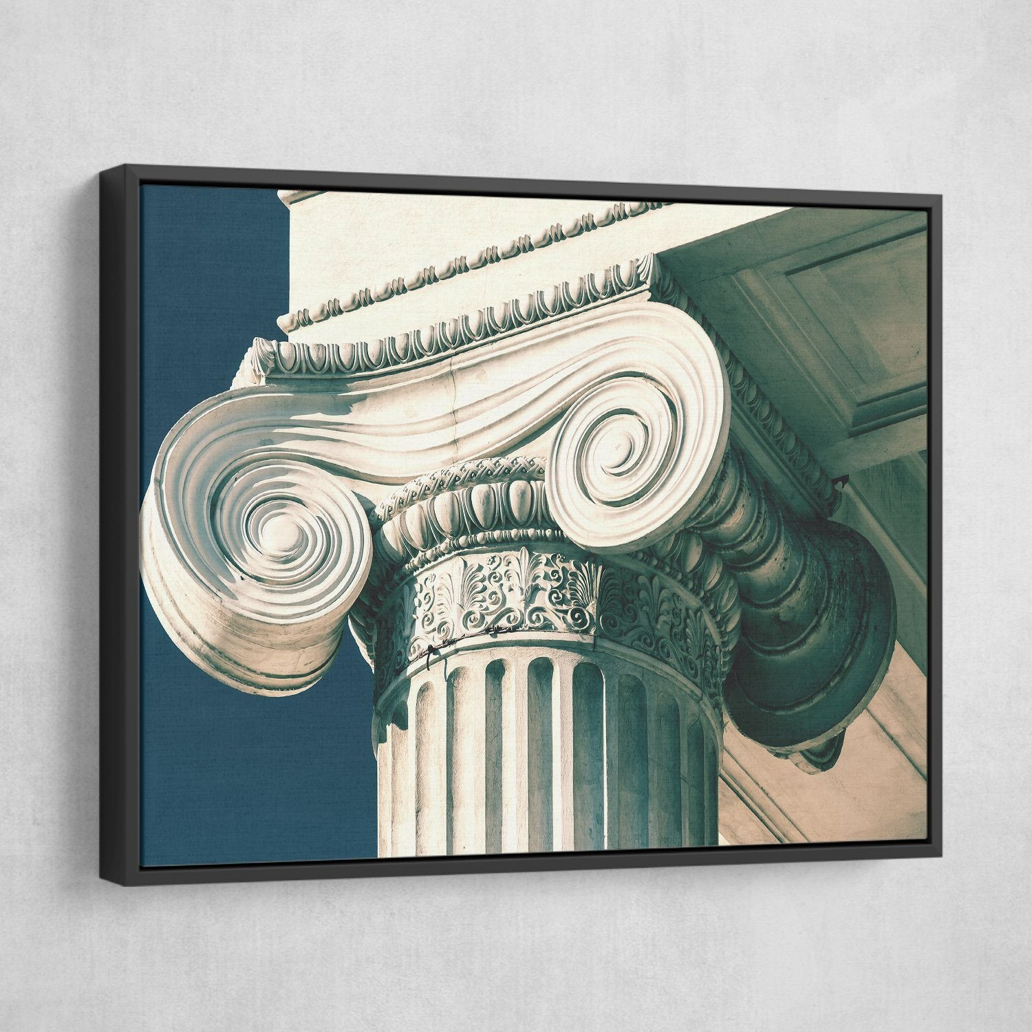 vintage column wall art black frame