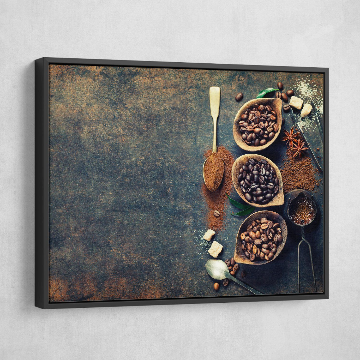 Three Variants of Coffee wall art black floating frame
