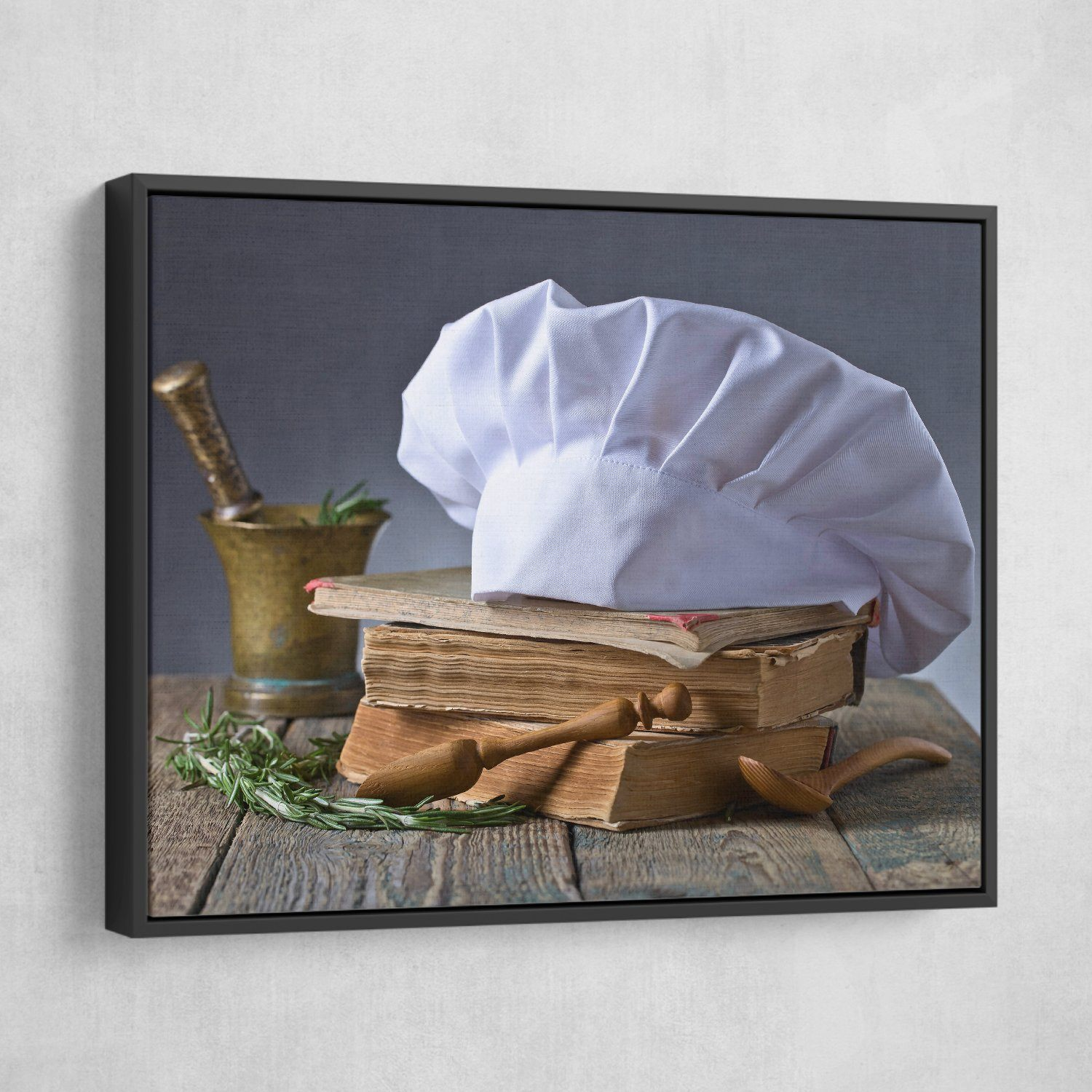 recipe book and Chef's Hat wall art black frame