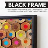 Colored Pencils wall art black floating frame