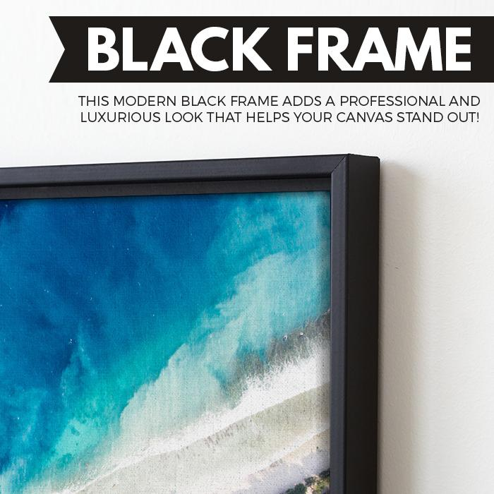 Top of the seabed wall art black floating frame