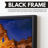 Colosseum wall art black floating frame
