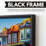 Colorful Houses wall art black frame
