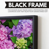 Hydrangea Flowers art black floating frame