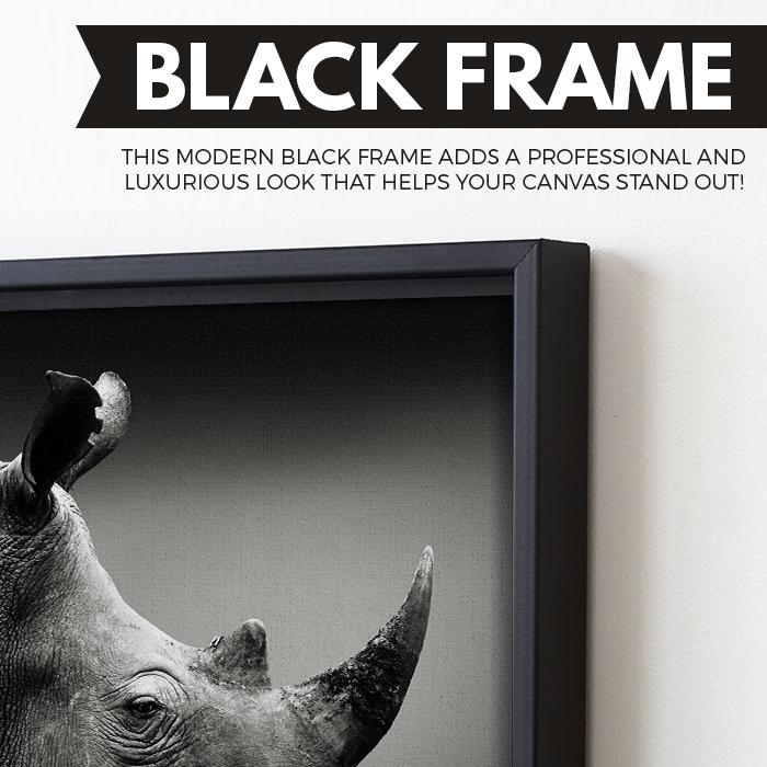 Rhinoceros wall art black frame