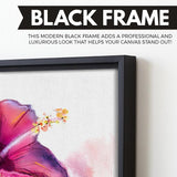 Abstract Hibiscus wall art black floating frame