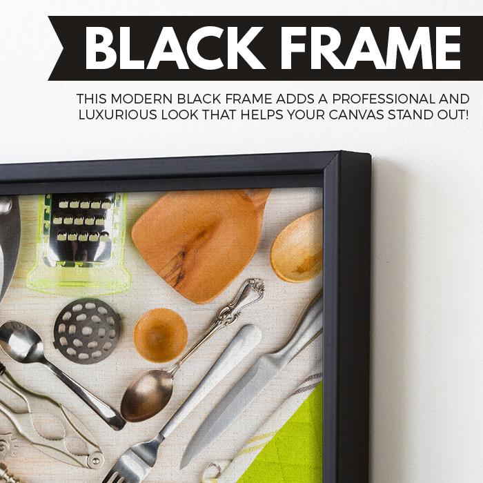 Kitchen Utensils wall art black floating frame